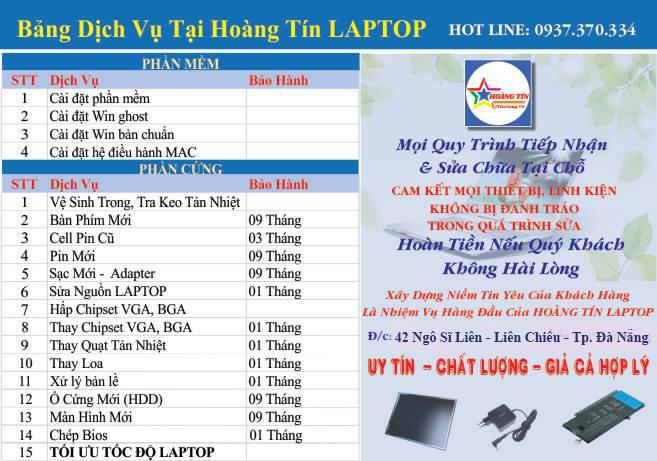 Bảng dịch vụ sửa laptop tại Đà Nẵng