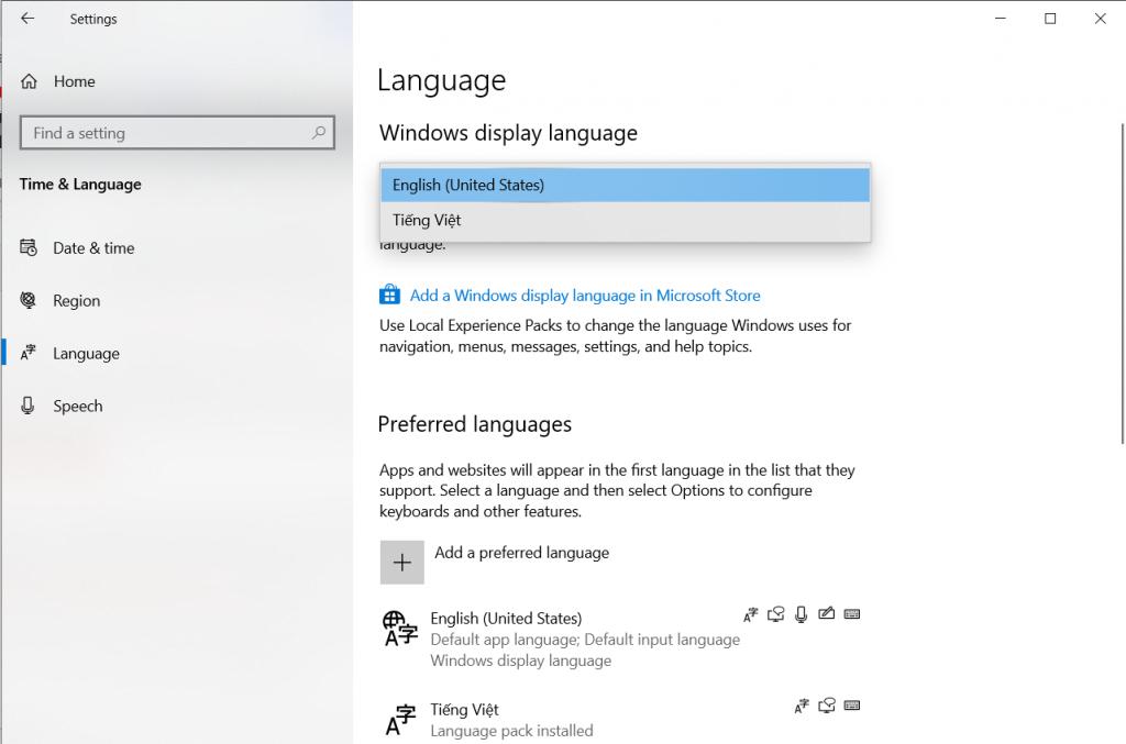 Cài tiếng Việt đổi ngôn ngữ cho Windows 10